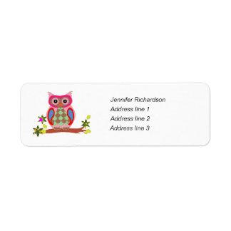 Owl colorful art custom return address labels