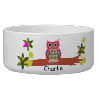 Owl colorful art decorative custom pet dog bowl