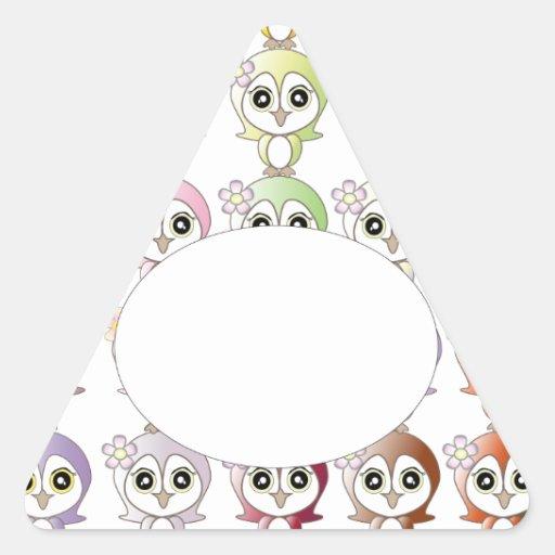Owl: Colorful Buju Selection Triangle Sticker