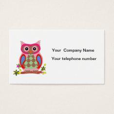 Owl Colorful Decorative Art Custom Business Card at Zazzle