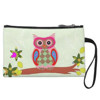 Owl colorful patchwork art decorative clutch bag wristlets
