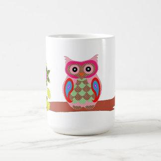 Owl colorful patchwork art decorative fun mug