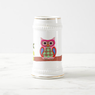 Owl colorful patchwork art decorative fun stein