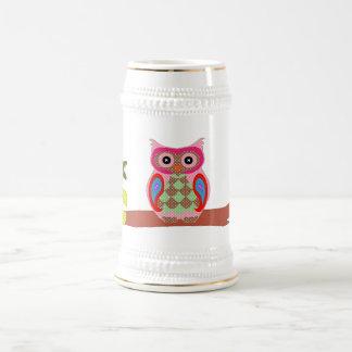 Owl colorful patchwork art decorative fun stein coffee mug