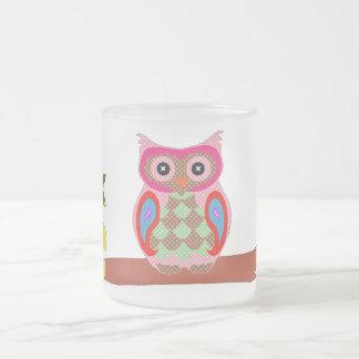 Owl colorful patchwork art decorative glass mug