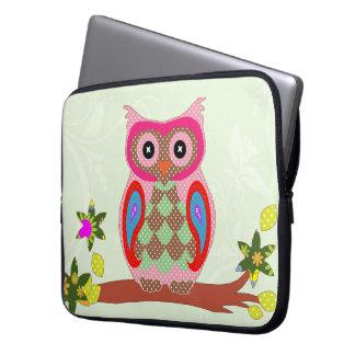 Owl colorful patchwork art decorative laptop sleev laptop computer sleeve