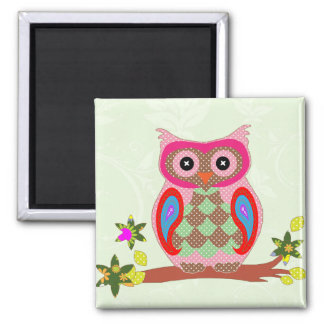 Owl colorful patchwork art decorative magnet
