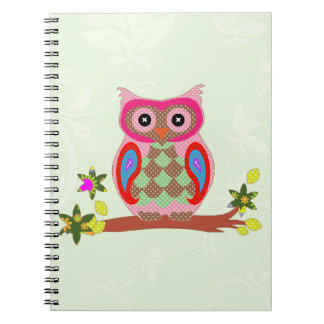 Owl colorful patchwork art decorative notebook