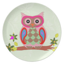 Owl colorful patchwork art decorative plate