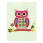 Owl colorful patchwork art decorative postcard
