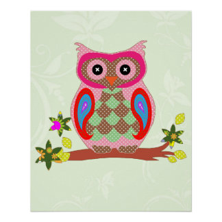 Owl colorful patchwork art decorative poster