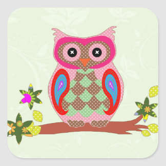 Owl colorful patchwork art decorative stickers