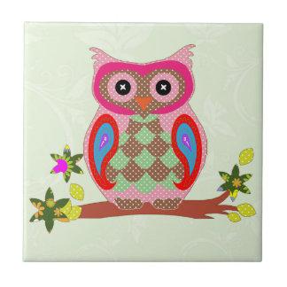 Owl colorful patchwork art decorative tile, trivet