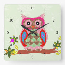 Owl colorful patchwork art decorative wall clock