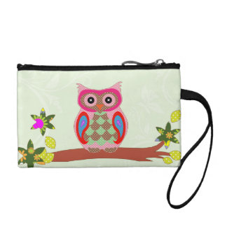 Owl colorful patchwork decorative key coin clutch