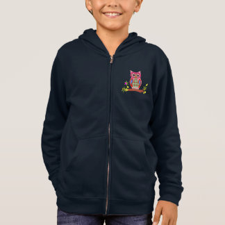 Owl colorful patchwork decorative kids navy fleece hoodie