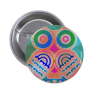 Owl Colorful Pattern Personalized Monogram Name Button