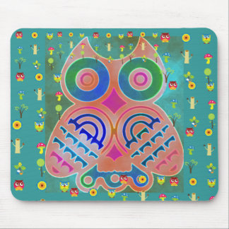 Owl Colorful Pattern Personalized Monogram Name Mousepads