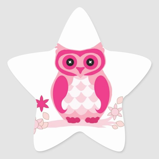 Owl Colorful Pattern Personalized Monogram Name Star Sticker
