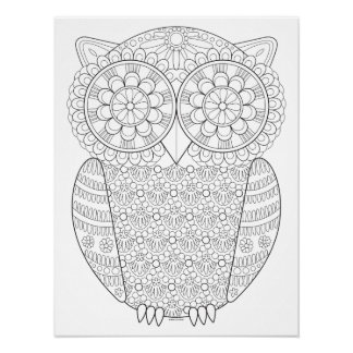 Owl Coloring Poster - Colorable Owl Art Poster