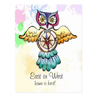 Owl compass east or west home is best postcard
