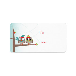 Owl Couple Christmas Gift Label