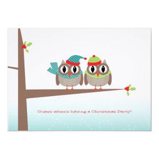 Owl Couple Christmas Invitation