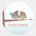 Owl Couple Christmas Sticker