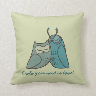 Owl Couple Cuddling Pillow
