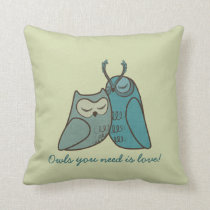 Owl Couple Cuddling Throw Pillow