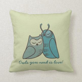 Owl Couple Cuddling Throw Pillow