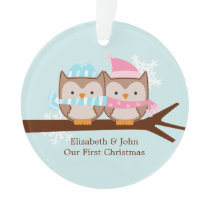 Owl Couple Custom Christmas Ornament
