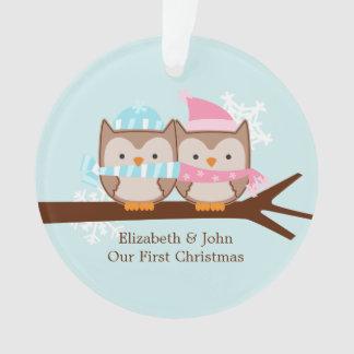 Owl Couple Custom Christmas Ornament
