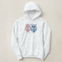 Owl Couple Embroidered Hoodie