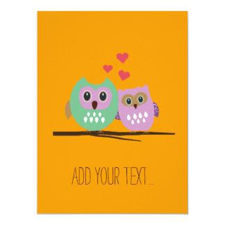 Owl couple personalized invitation