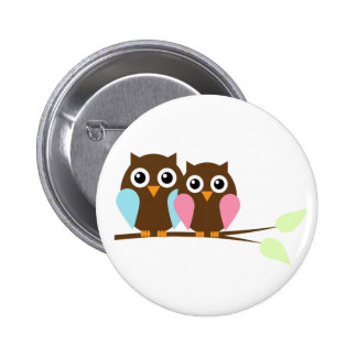 Owl couple on a branch 2 inch round button