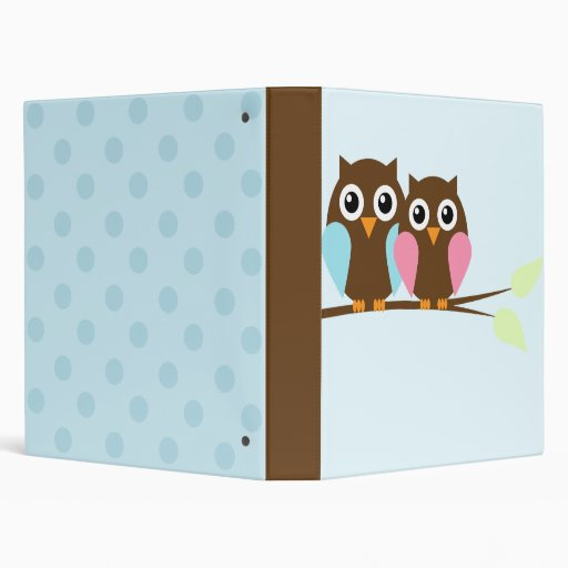 Owl couple on a branch 3 ring binder