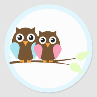 Owl couple on a branch classic round sticker