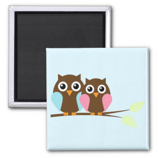 Owl couple on a branch magnet