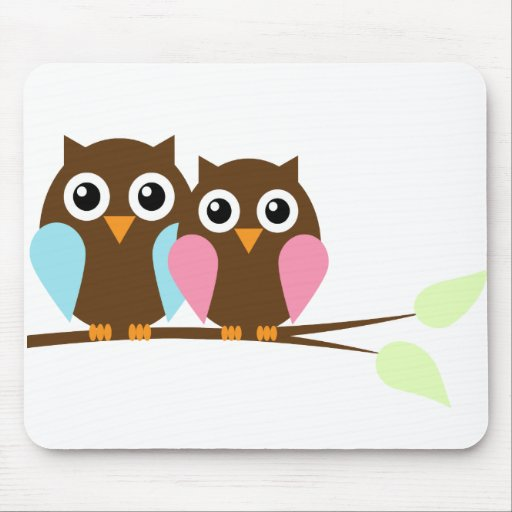Owl couple on a branch mouse pad