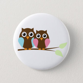 Owl couple on a branch pinback button