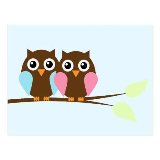 Owl couple on a branch postcard