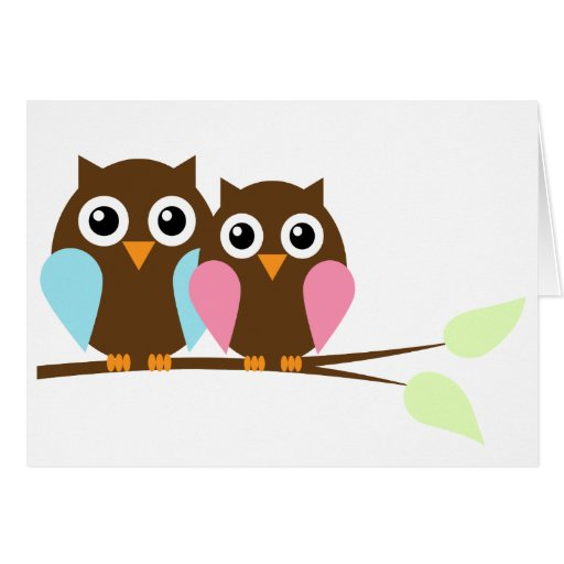Owl couple on a branch stationery note card