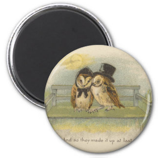 owl couple on bench magnet