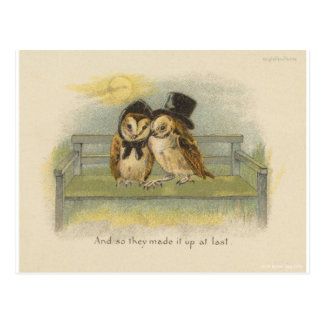 owl couple on bench postcard