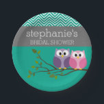"Owl Couple on Branch Bridal Shower Favors Paper Plate<br><div class=""desc"">Cute whimsical cartoon owls perfect for a wedding or engagement party. You can even customize the type to make it a birthday party invite.</div>"