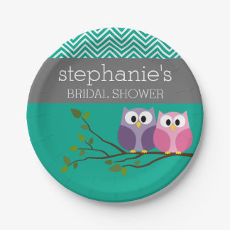 Owl Couple on Branch Bridal Shower Favors 7 Inch Paper Plate
