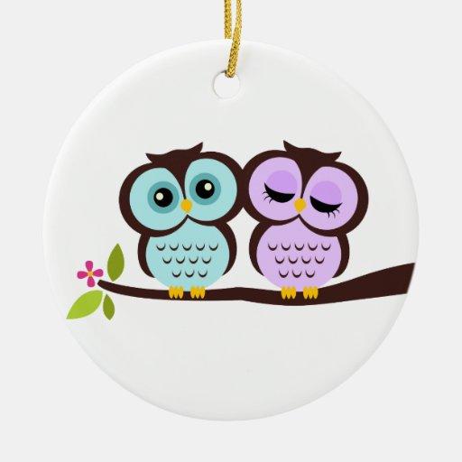 Owl Couple Christmas Tree Ornament