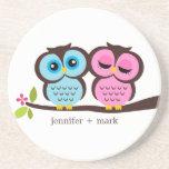 Owl Couple Personalized Coaster