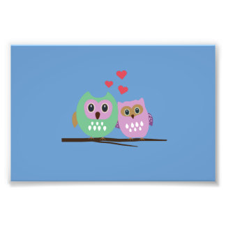Owl couple photo print